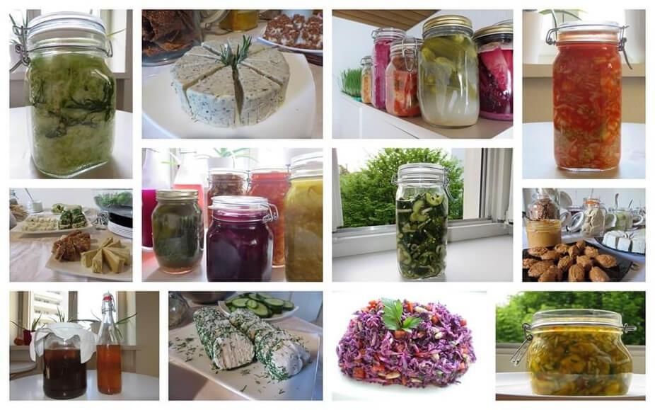Collage von fermentierten Speisen